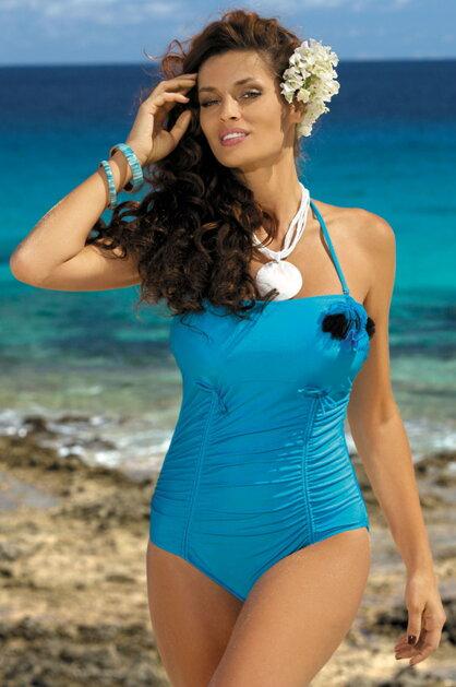 398e7895d2ca Jednodielne lesklé plavky Shila Turchese M-202 nebesky modré (193)
