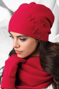 ad508215da90 Červená elegantná dámska čiapka na jeseň s motýlikmi Kamea Vasto