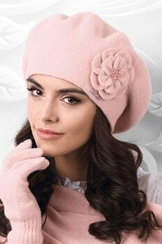 973684faf Ružová luxusná elegantná dámska baretka na zimu s kvetom Kamea Vicenza