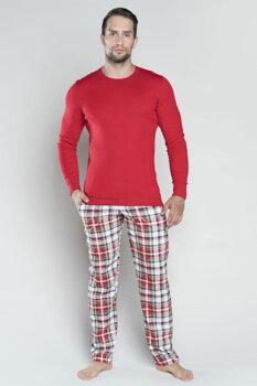 4e3c2328b647 Červené pánske bavlnené pyžamo s dlhým rukávom Italian Fashion Rikardo