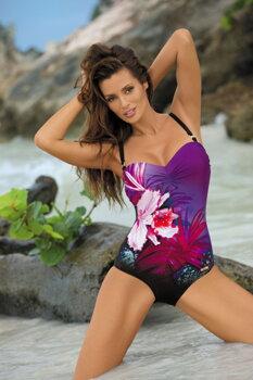 5fed7e42b Jednodielne dámske kvetinové plavky Nicole M-378 Nero-Mirto (2) čierno-