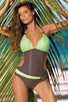 Dámske monokiny plavky Beatrix Cubano-Freeze M-337 hnedo-seledýnovo zelené 0ef9632e11