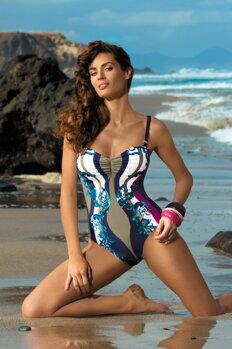 Jednodielne plavky Miriam Cosmo-Thai M-329 tmavomodro-béžovo-tmavoružové  (164 ca32f2f2cc