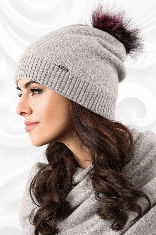 f6d29a71e Šedá dámska čiapka na zimu s kožušinovým brmbolcom Kamea Vercelli
