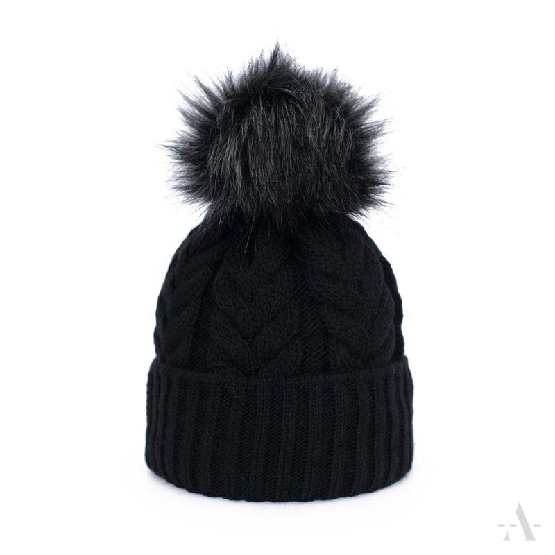 affb6d729 Čierna dámska čiapka s brmbolcom Art Of Polo Wykwintny warkocz
