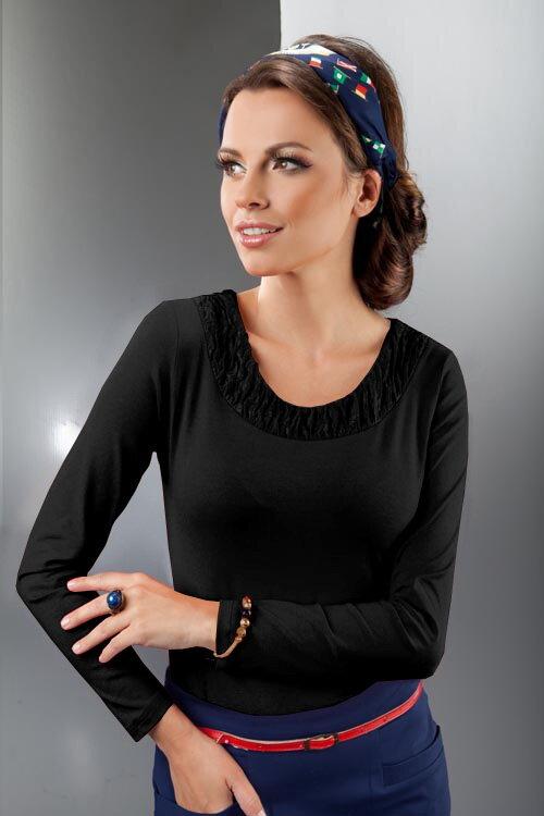 9158e9eb284e Enny 14090 elegantná dámska čierna blúzka s dlhým rukávom