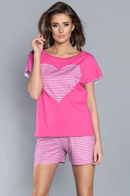 4da1e152d5a5 Bavlnené dámske pyžamo s krátkym rukávom + krátke nohavice Italian Fashion  Dekada