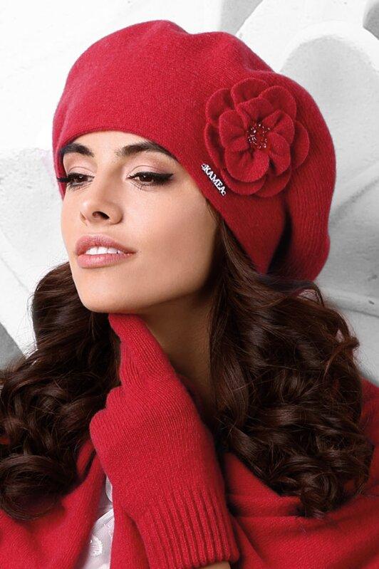 47ca3c24a Luxusná elegantná dámska baretka na zimu s kvetom Kamea Vicenza