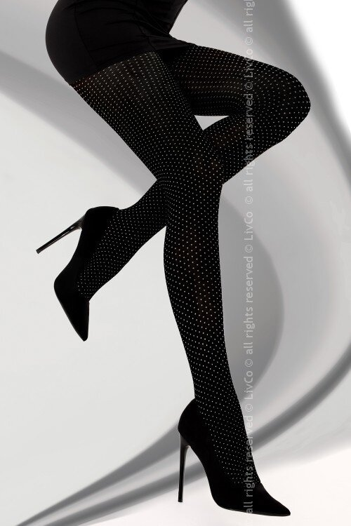 96ceac201f9a Vzorované bodkované čierne pančuchy LivCo Corsetti Millaray 40 DEN