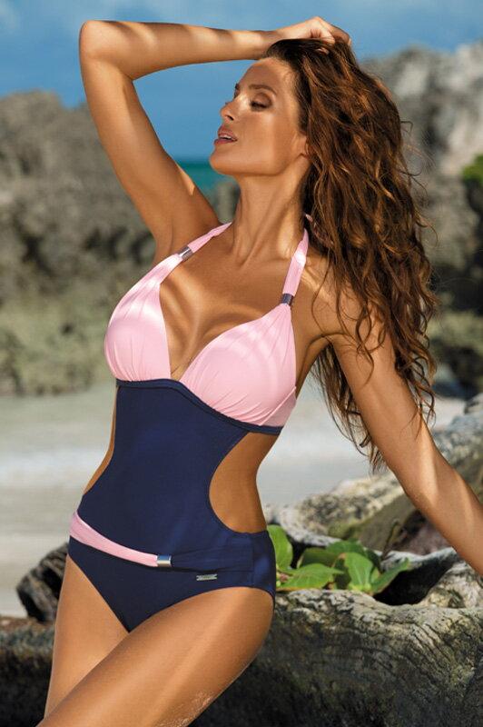 Dámske monokiny plavky Beatrix Blueberry-Rosa Confetto M-337 ružovo -tmavomodré fd7c2c250e
