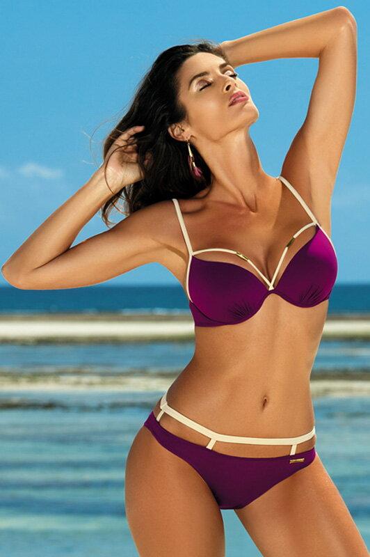 7e9425c50 Plavky so strappy pásikmi Nathalie Magenta Purple M-391 (19) fialové